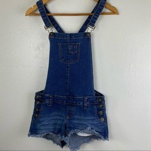 Guess Denim Overall Frayed Shorts